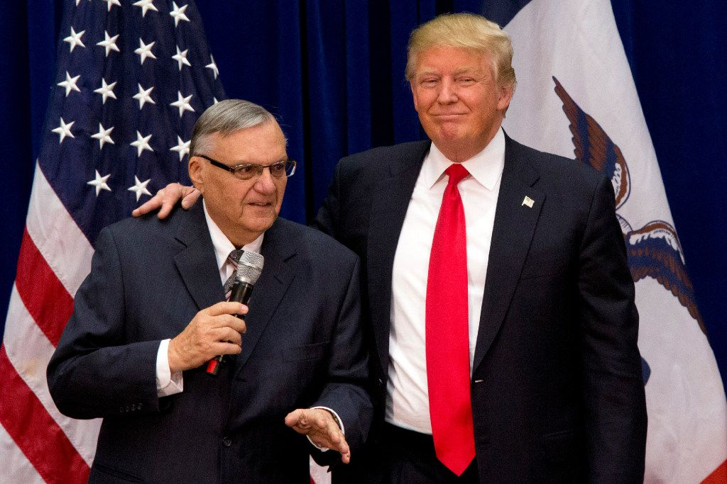 Then-Republican presidential candidate Donald Trump was joined by Joe Arpaio, the sheriff of metro Phoenix, at a campaign event in Marshalltown, Iowa.