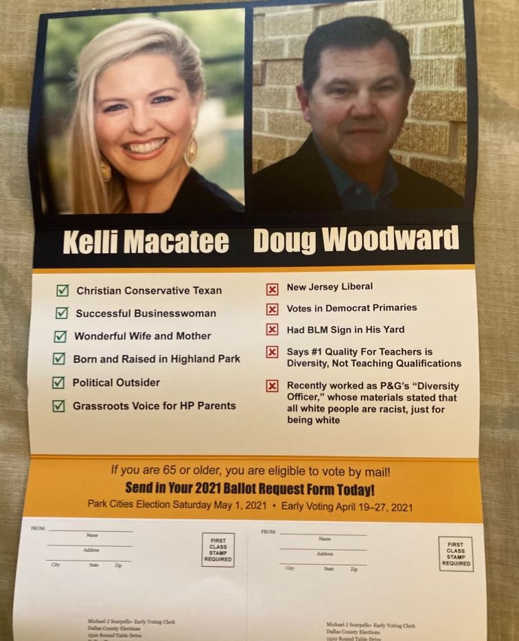 A political action committee distributed a flyer to Highland Park residents slamming a school board candidate for putting a Black Lives Matter sign in his yard.