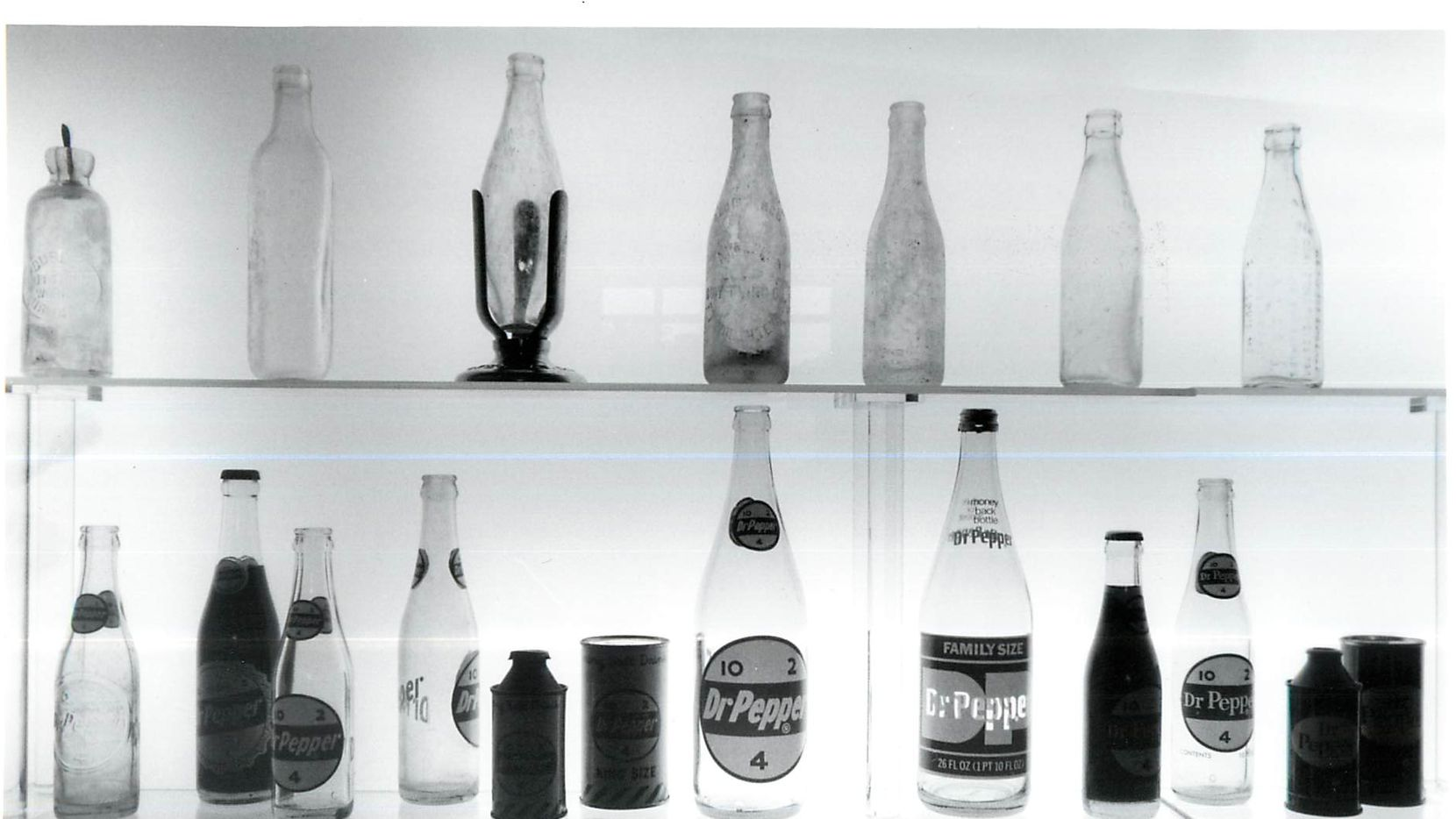 Soda bottles on display at the Dr Pepper Museum in Waco.