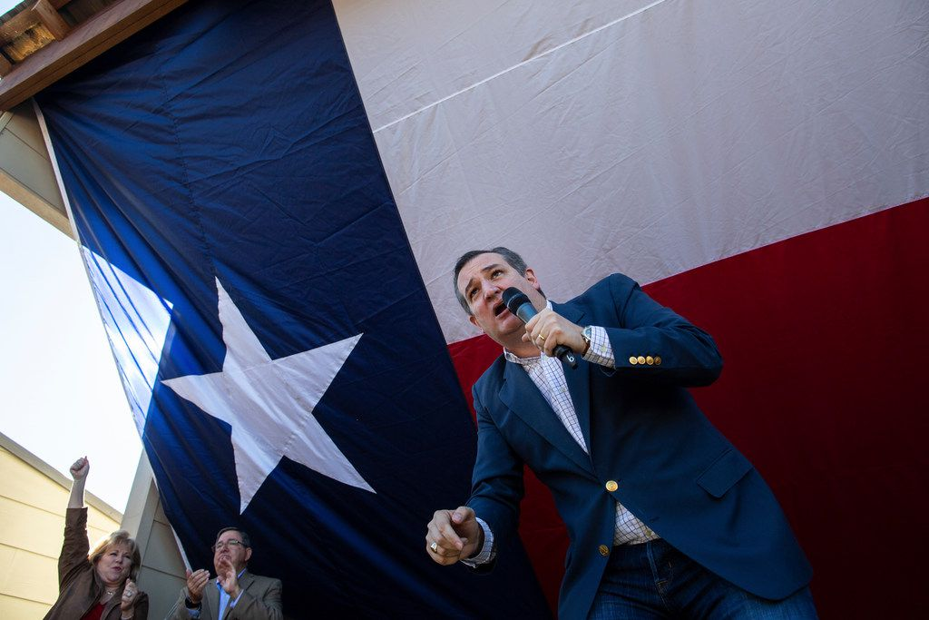 Sen. Ted Cruz speaks at a campaign event at Marty B's in Bartonville, Texas, Nov. 4, 2018. Behind him are state Sen. Jane Nelson and U.S. Rep. Michael Burgess. (Tamir Kalifa/The New York Times)
