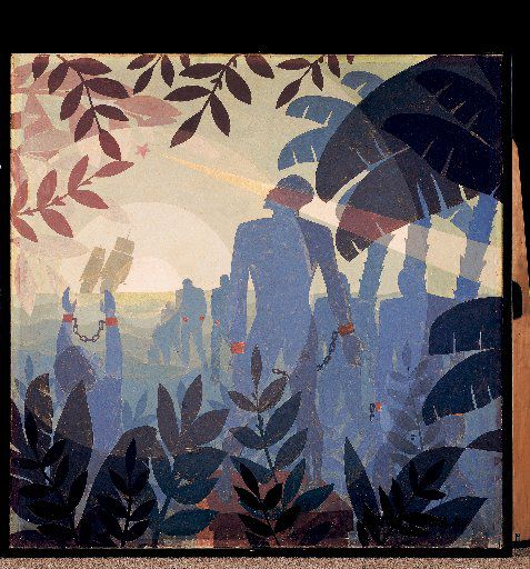 """Aaron Douglas' mural """"Into Bondage"""" was one of the four murals he painted for the Hall of Negro Life at Fair Park in 1936. It's at the National Gallery of Art in Washington, D.C. The mural """"Aspiration"""" is on display at the de Young in San Francisco"""