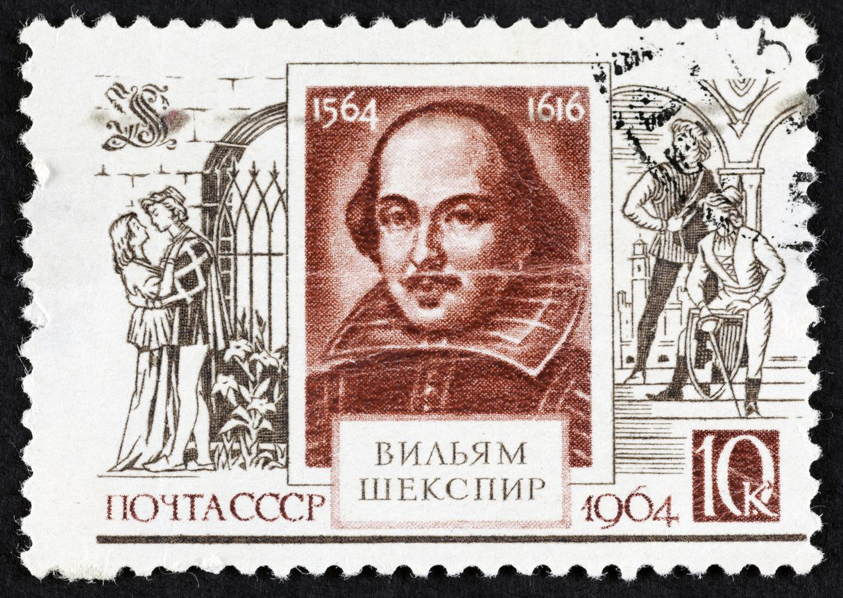 "USSR postage stamp ""William Shakespeare"" with scene from ""Romeo and Juliet"". 1964 year. Black background."