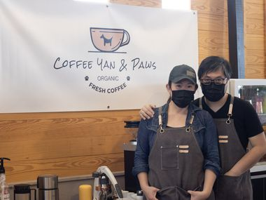 Winnie Tam and Julian Chung, who operate Coffee Yan and Paws at the Frisco Fresh Market, share a love of coffee and dogs.