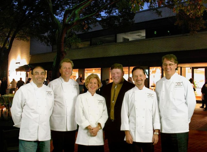"""The """"Gang of Five"""" plus one (from left): Avner Samuel, Dean Fearing, Anne Greer McCann, Michael Cox (general manager, Central Market-Plano), Stephan Pyles and Robert Del Grande, all pictured in 2003."""