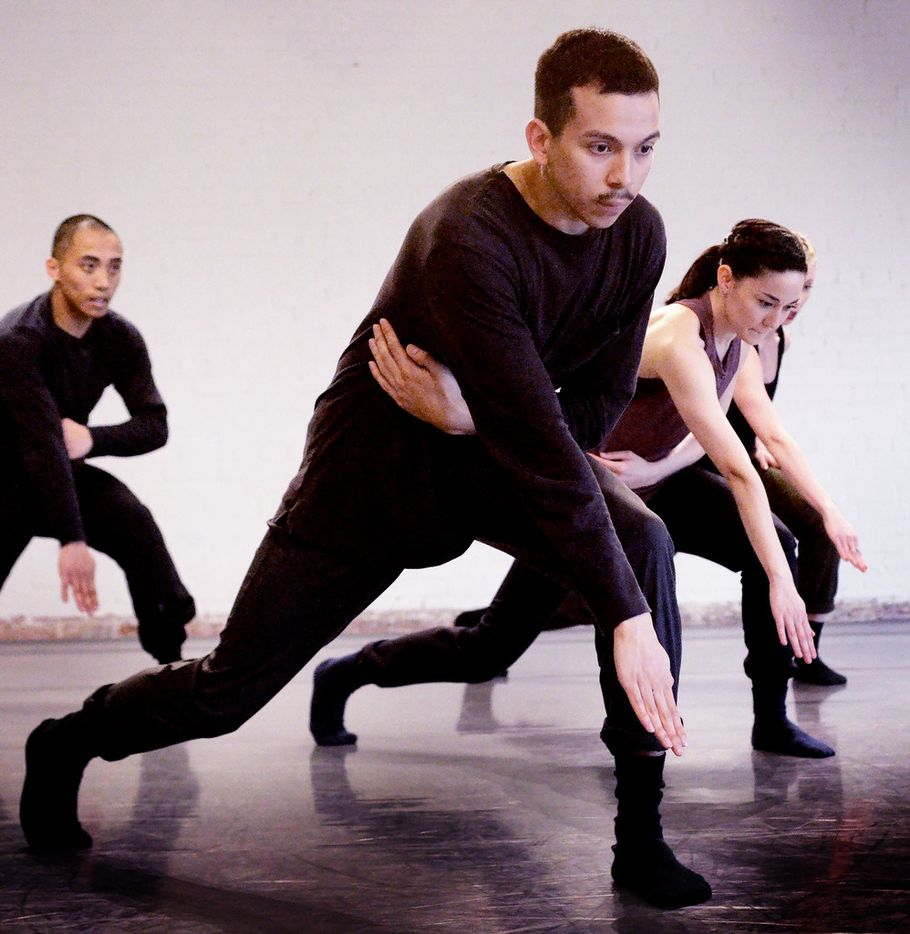 Alonzo Blanco, center, and other members of Bruce Wood Dance rehearse New York choreographer Yin Yue's Begin Again, premiering June 14-15 at Moody Performance Hall.