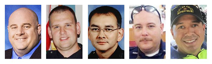 The five officers who died in the line of duty are Lorne Ahrens, Michael Krol, Michael Smith, Brent Thompson and Patrick Zamarripa.