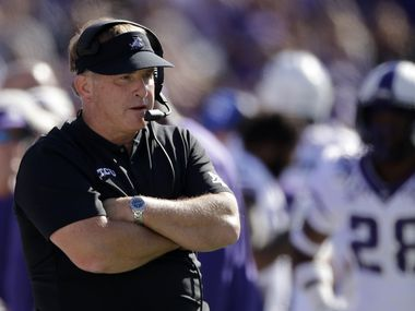 "FILE - In this Oct. 19, 2019, file photo, TCU coach Gary Patterson watches during the first half of the team's NCAA college football game against Kansas State in Manhattan, Kan. Patterson, president of the American Football Coaches Association, says his level of optimism is ""very high"" that there will be a 2020 college football season. He's just not sure when it will start or how it will look. ""At some point in time, whether it's fall or spring ... or if it's shortened, we're talking about five, six, seven, eight different options right now,"" Patterson said during a Zoom call with media on Tuesday, April 28, 2020. (AP Photo/Charlie Riedel, File)"