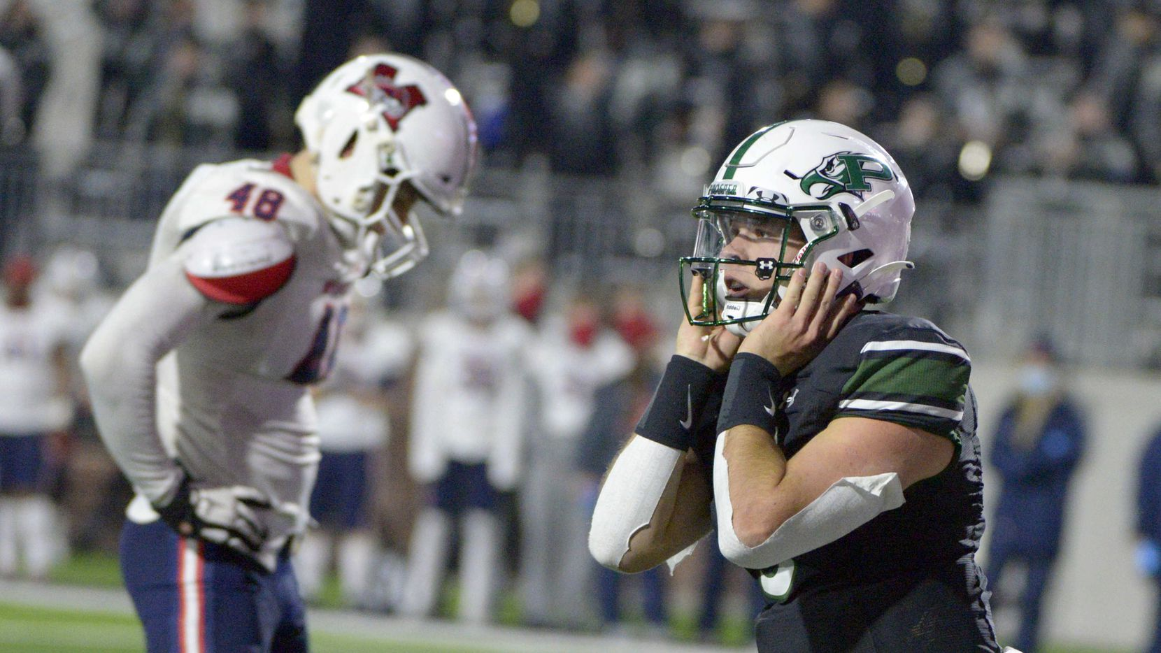 Prosper's Jackson Berry (5) celebrates after his game-winning touchdown in the final minutes of their 29-28 win of a high school football game between McKinney Boyd and Prosper, Friday, Dec. 4, 2020, in Prosper, Texas.