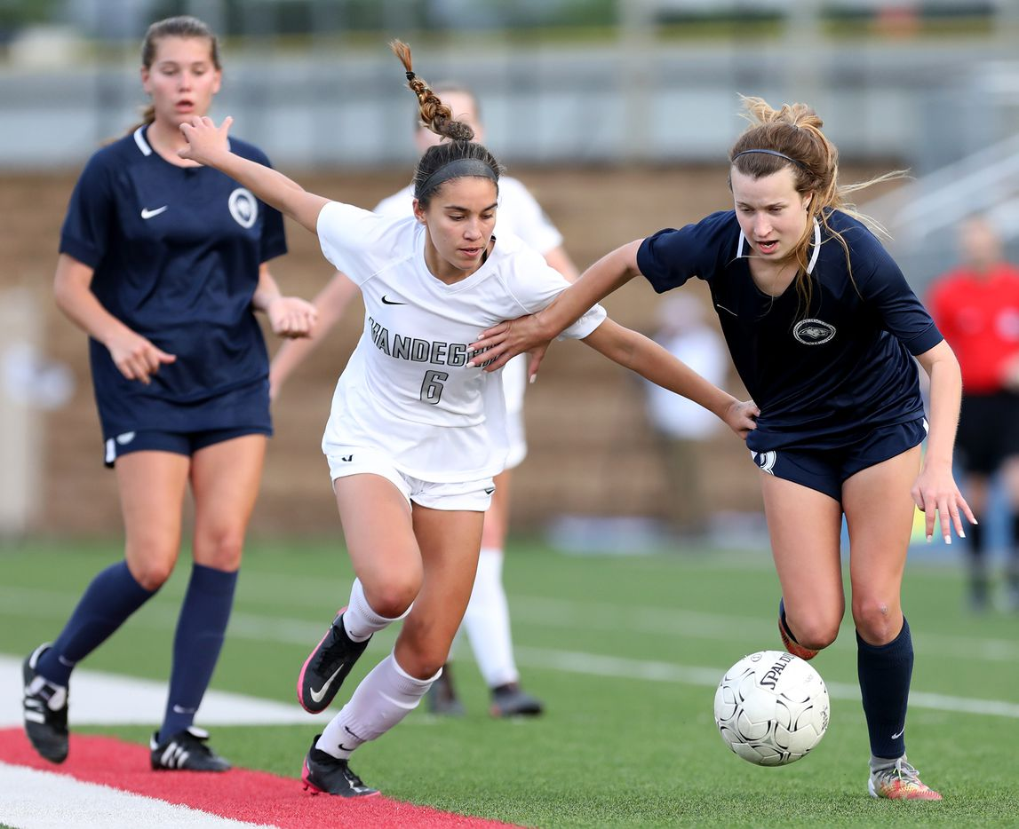 Lewisville Flower Mound's Tatum Beck (3) and Austin Vandegrift's Hailey Sapinoro (6) chase after the ball during their UIL 6A girls State championship soccer game at Birkelbach Field on April 16, 2021 in Georgetown, Texas. (Thao Nguyen/Special Contributor)