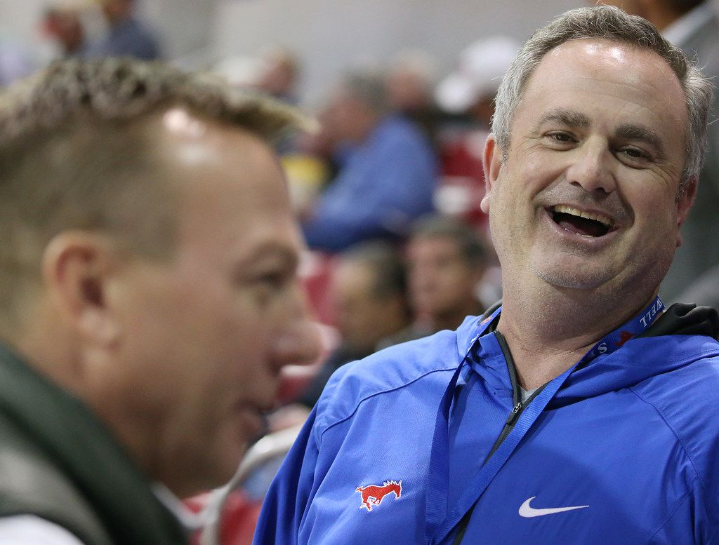 New Southern Methodist Mustangs football head coach Sonny Dykes speaks to patrons before an NCAA basketball game between Temple and SMU at Moody Coliseum in Dallas Wednesday January 10, 2018. Southern Methodist Mustangs trailed at halftime 28-34. (Andy Jacobsohn/The Dallas Morning News)