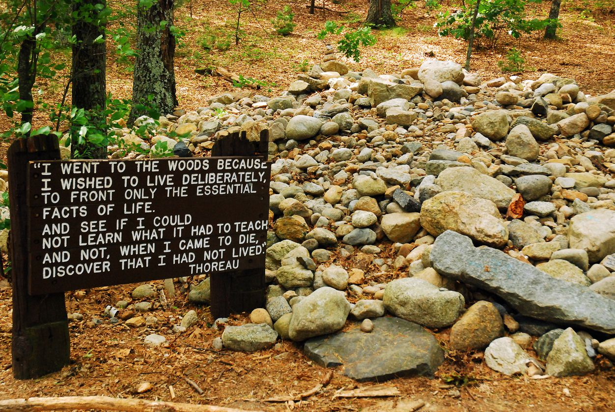 A wooden marker denotes the site of Henry David Thoreau's cabin in Walden Pond, where he wrote his famous essay Walden.