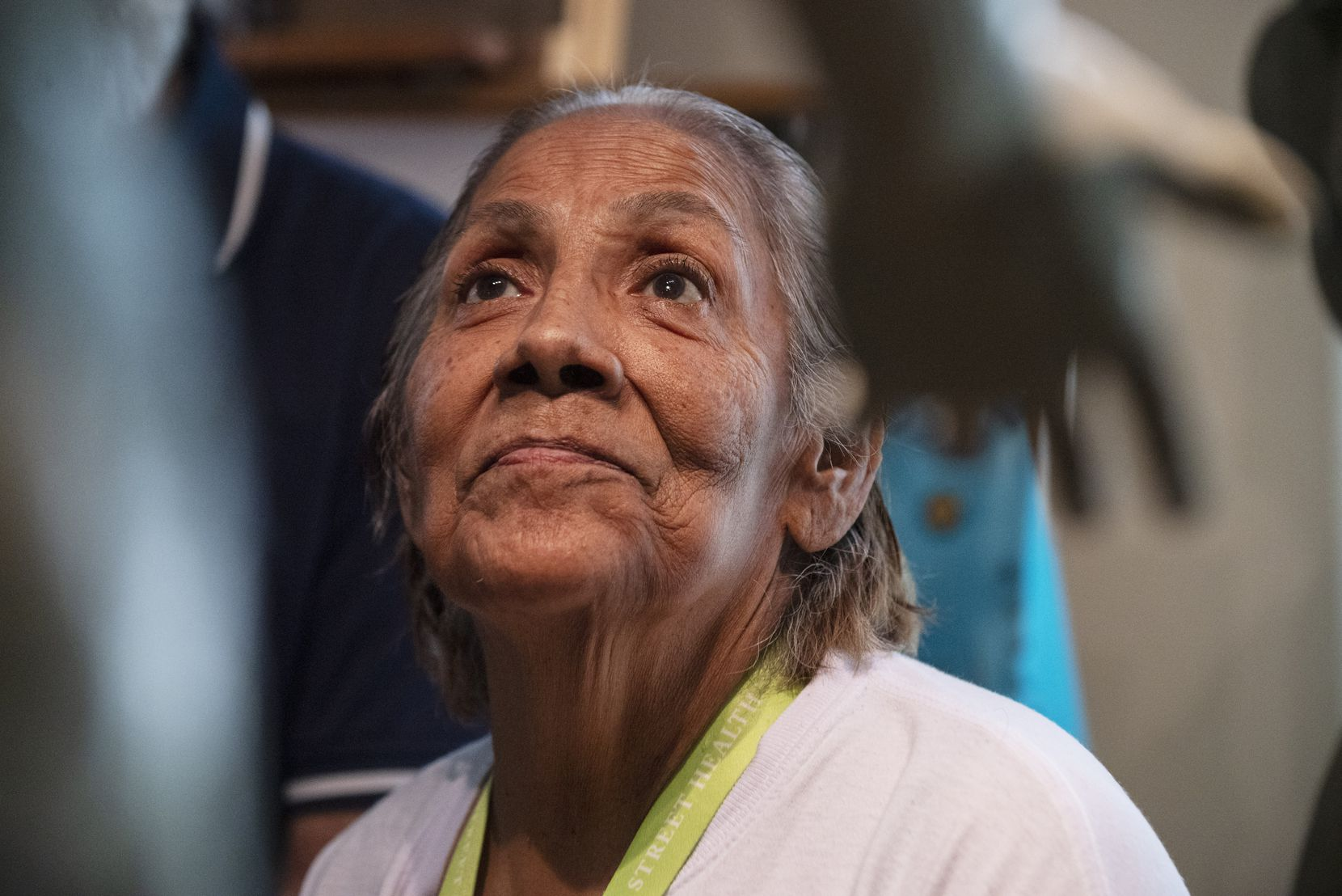 Bessie Rodriguez, mother of Santos Rodriguez, views for the first time the statue that was made in Santos' image, at the studio of sculptor Seth Vandable in Cedar Hill, on Tuesday, July 20, 2021. Santos was a 12-year-old boy when he was killed by Dallas police officer 48 years ago.