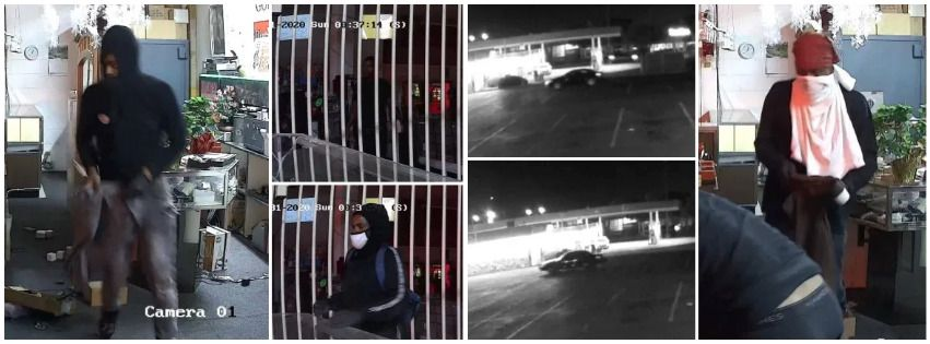 Police on Thursday released surveillance video images of four suspects and their vehicles linked to a $30,000 jewelry store heist in Pleasant Grove on May 31, 2020.