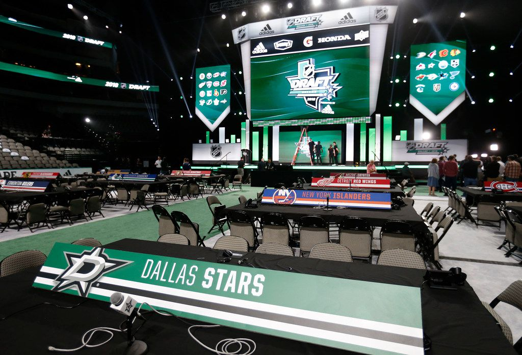 The scene of inside American Airlines Center in preparation for the 2018 NHL Draft in Dallas, Thursday, June 21, 2018. (Jae S. Lee/The Dallas Morning News)