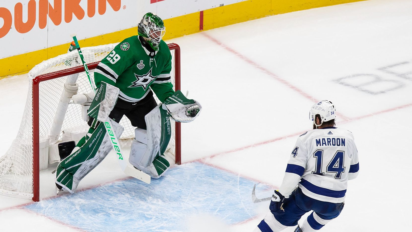 Goaltender Jake Oettinger (29) of the Dallas Stars makes a save against Pat Maroon (14) of the Tampa Bay Lightning during Game Three of the Stanley Cup Final at Rogers Place in Edmonton, Alberta, Canada on Wednesday, September 23, 2020.