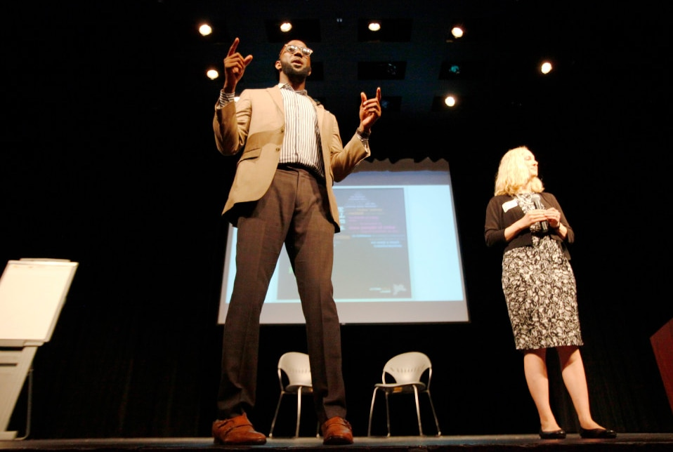"""The Rev. Edwin Robinson and Lydia Bean, both of Faith in Texas, spoke during Saturday's """"Actions Speak Louder"""" forum at El Centro College in downtown Dallas. (Ben Torres/Special Contributor)"""