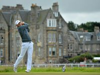US golfer Jordan Spieth watches his drive from the 2nd tee during his first round on the opening day of the 2015 British Open Golf Championship on The Old Course at St Andrews in Scotland, on July 16, 2015.