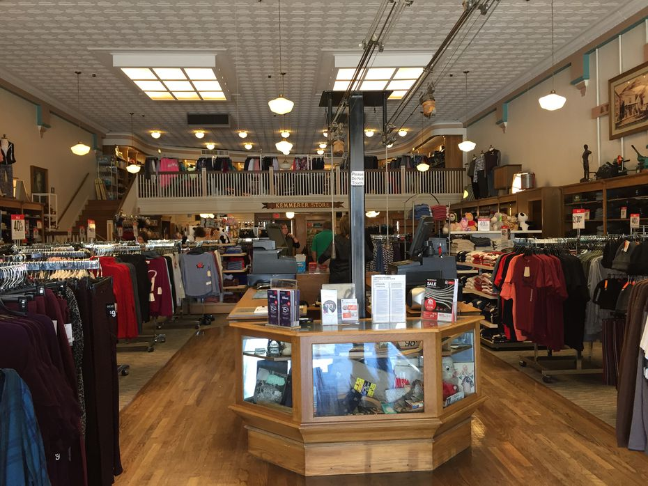 "The J.C. Penney ""Mother Store"" in Kemmerer, Wyo., is a throwback to another time, with a mezzanine in the back, wooden floors and a tin panel ceiling."