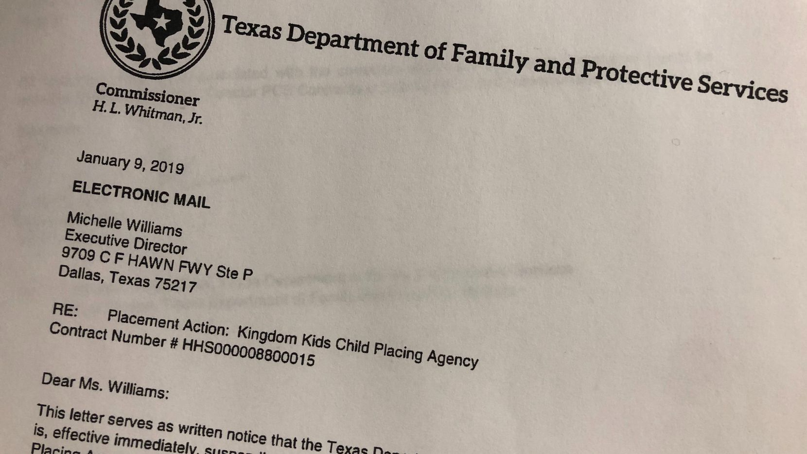"In a letter to Kingdom Kids Child Placing Agency dated Jan. 9, the Texas Department of Family and Protective Services said the decision to suspend placements was made because of ""allegations that impact the health, safety and well-being of children."""