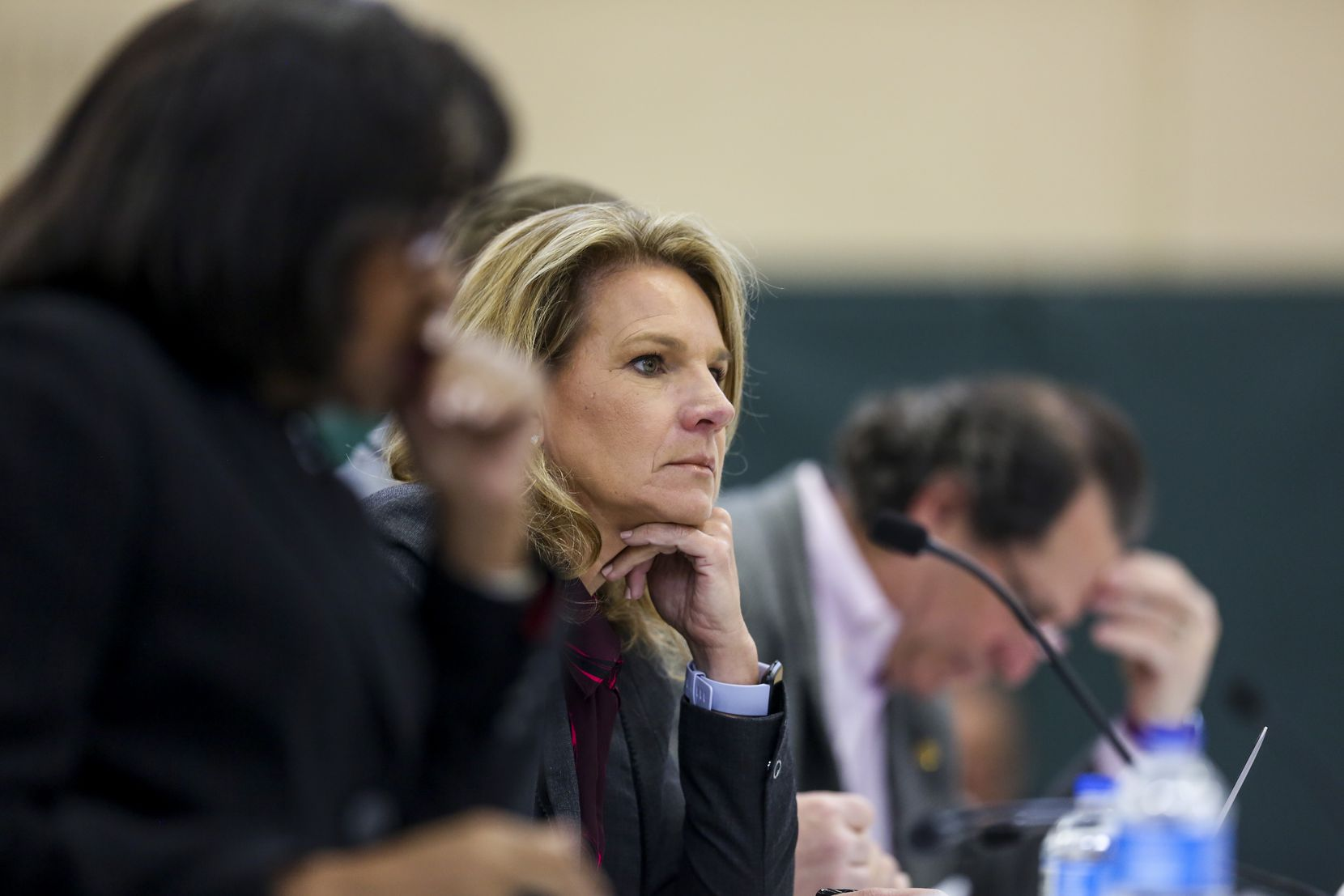 Dallas City Council member Jennifer Staubach Gates listens during a Dallas City Council meeting at Park In the Woods Recreation Center in Dallas on Wednesday, Feb. 13, 2019.