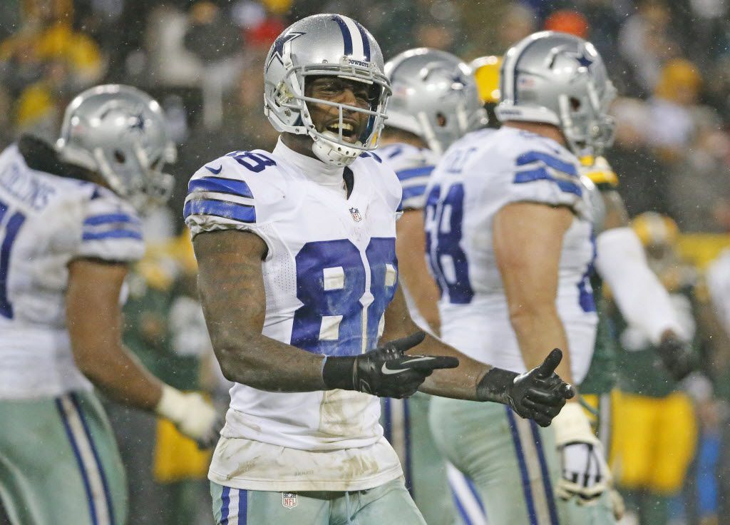 Dallas Cowboys wide receiver Dez Bryant (88) verbalizes his feelings on the field as time winds down in the fourth quarter during the Dallas Cowboys vs. the Green Bay Packers NFL football game at Lambeau Field in Green Bay, Wisconsin on Sunday, December 13, 2015. (Louis DeLuca/The Dallas Morning News)