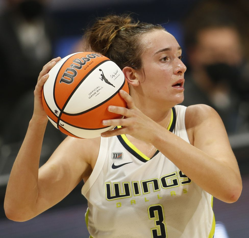 Dallas Wings guard Marina Mabry (3) looks to pass during second half action against Seattle. The Storm defeated the Wings 100-97 in overtime. The Wings hosted the Storm for their WNBA 2021season home opener at UTA's College Park Center in Arlington on May 22, 2021. (Steve Hamm/ Special Contributor)