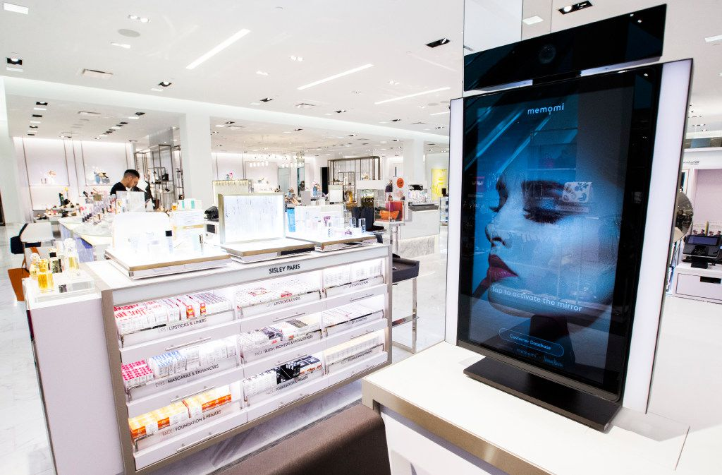A memory mirror by Memomi is set up in the cosmetics department inside a new Neiman Marcus store on Wednesday, February 8, 2017 at The Shops at Clearfork in Fort Worth, Texas. Memory mirrors are placed around the store so customers can record how they look while trying on items, then play the video back and send it directly to their email address. (Ashley Landis/The Dallas Morning News)