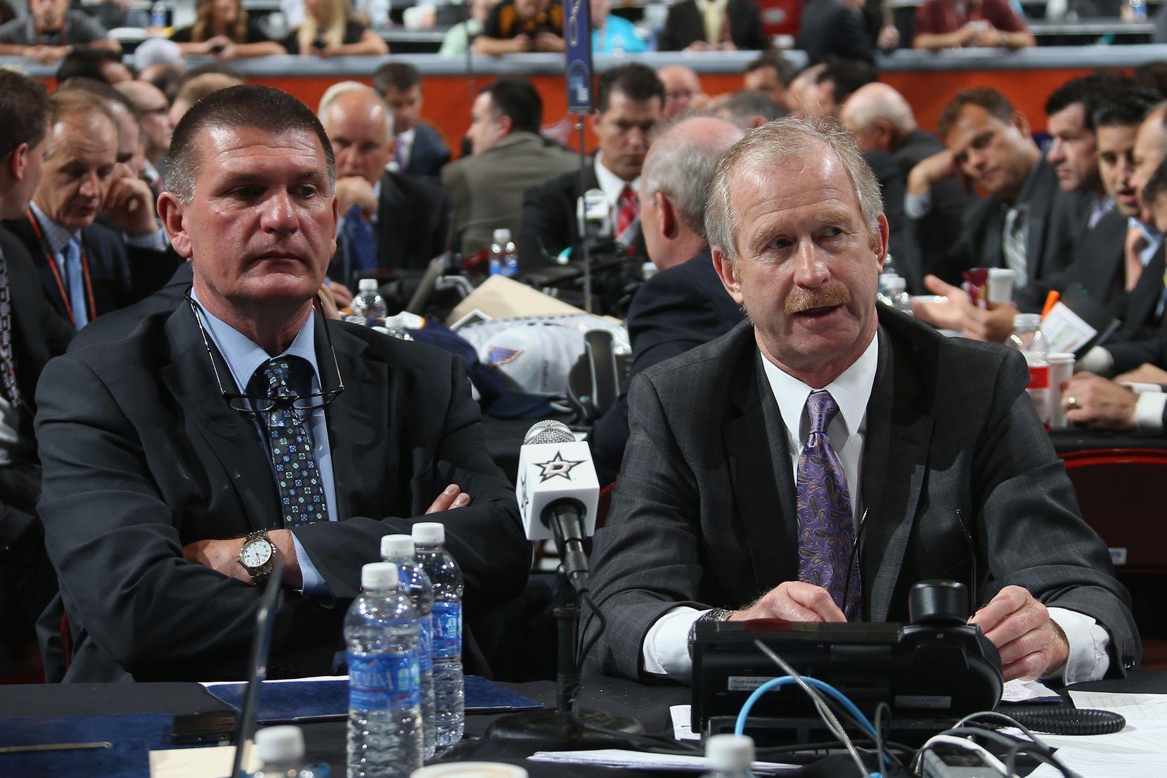PHILADELPHIA, PA - JUNE 28: Stars scout Joe McDonnell sits alongside GM Jim Nill on Day 2 of the 2014 NHL draft at the Wells Fargo Center on June 28, 2014, in Philadelphia. (Photo by Bruce Bennett/Getty Images)