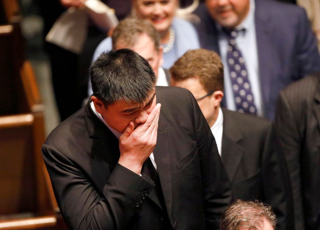 Former Houston Rockets center Yao Ming leaves the funeral service for George H.W. Bush, the 41st President of the United States, at St. Martin's Episcopal Church in Houston, Thursday, December 6, 2018.