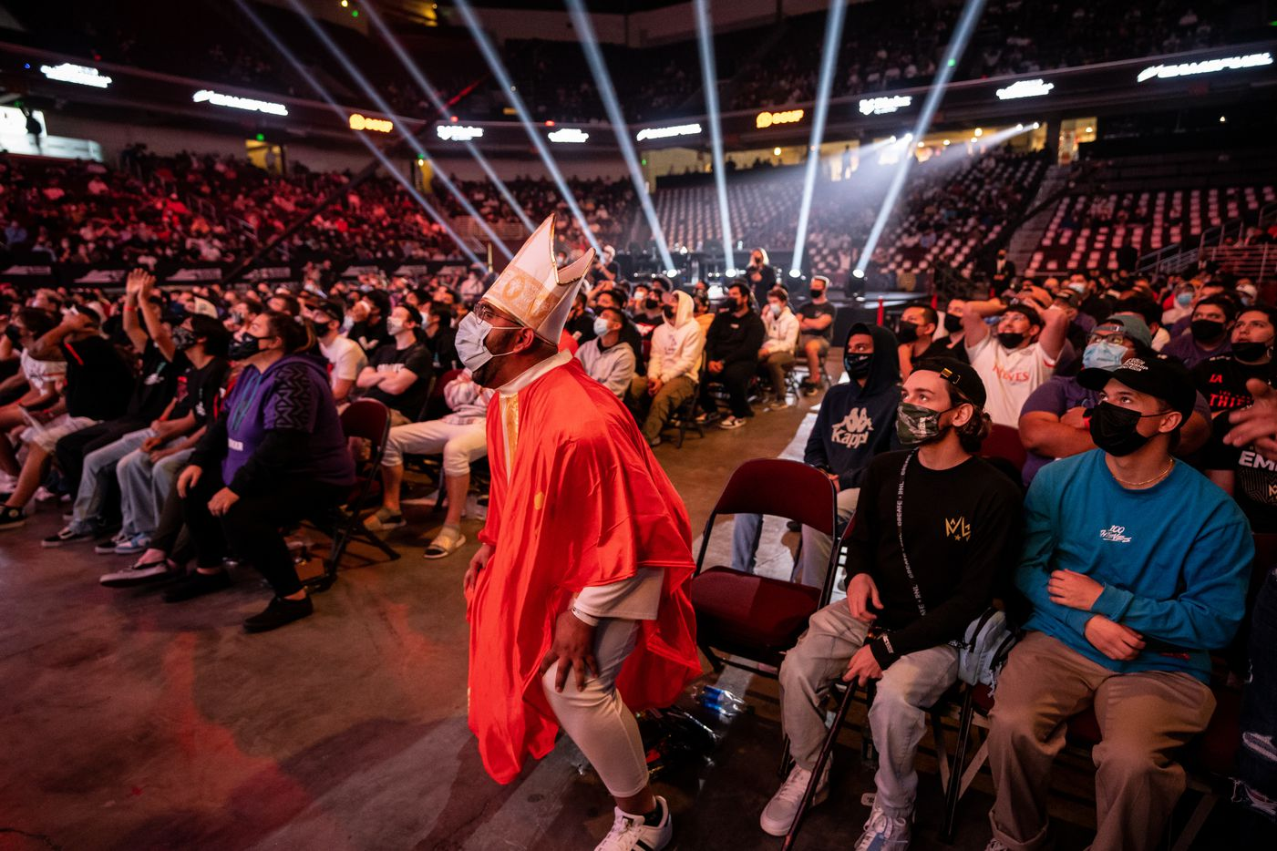Gurshaan Arora, center, cheers on the Dallas Empire as they play against the Atlanta FaZe during the winners final of the Call of Duty league playoffs at the Galen Center on Saturday, August 21, 2021 in Los Angeles, California. The Empire lost to FaZe 0 - 3 in their first match of the day but are still in contention to play in the finals through the elimination finals. (Justin L. Stewart/Special Contributor)