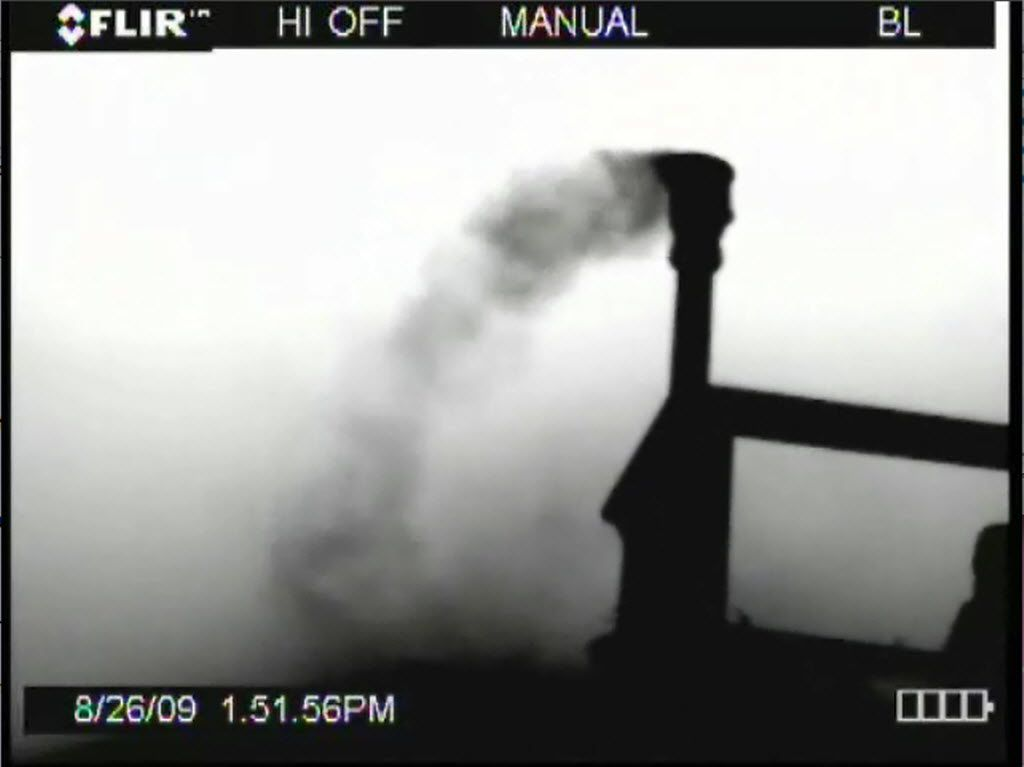 An image in a Texas Commission on Environmental Quality report taken in 2009 shows an infrared camera view of emissions from a natural gas storage tank in Decatur. (CREDIT: Texas Commission on Environmental Quality)