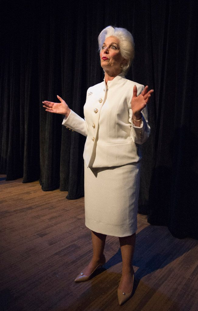 """Linda Kay Leonard as Ann Richards in the Stage West production of Holland Taylor's one-woman show, """"Ann,"""" at Stage West Theatre in Fort Worth."""