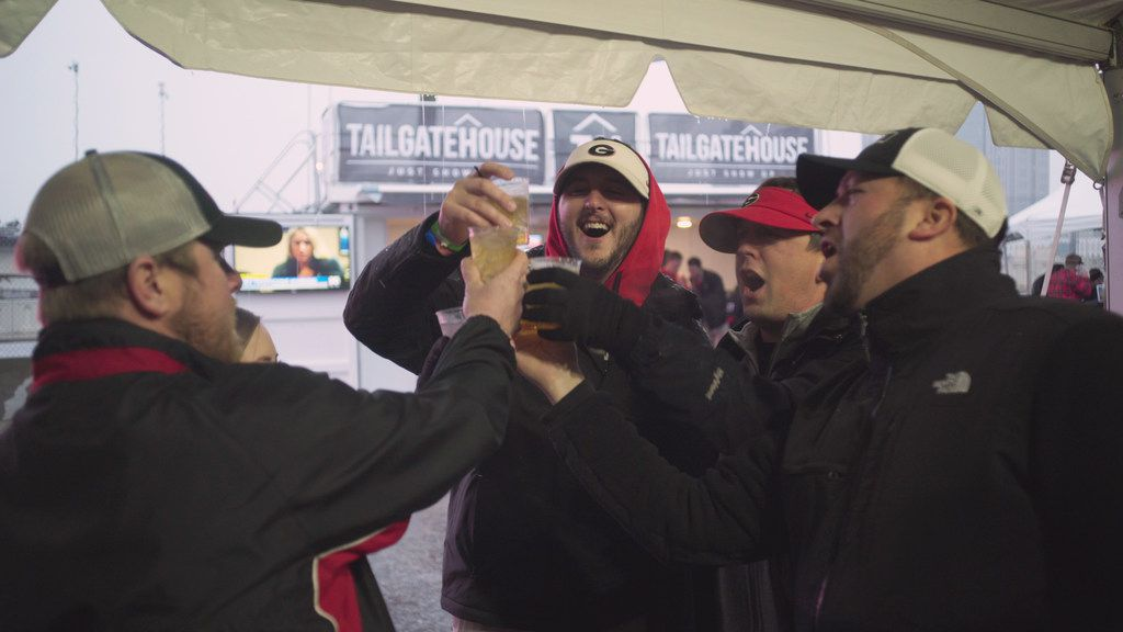 Georgia Fan Plan customers enjoy Fan Plan's National Championship VIP Tailgate and Viewing Party held on game day just south of Mercedes-Benz Stadium in Atlanta.