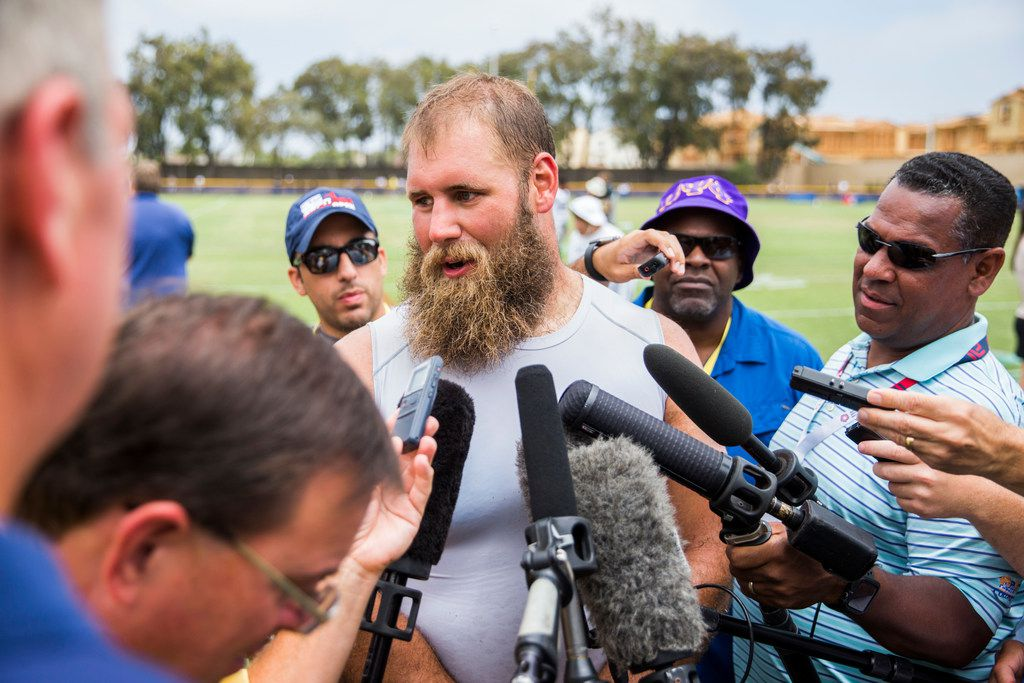 Dallas Cowboys center Travis Frederick (72) talks to reporters after a morning practice at training camp in Oxnard, California on Tuesday, July 30, 2019. (Ashley Landis/The Dallas Morning News)