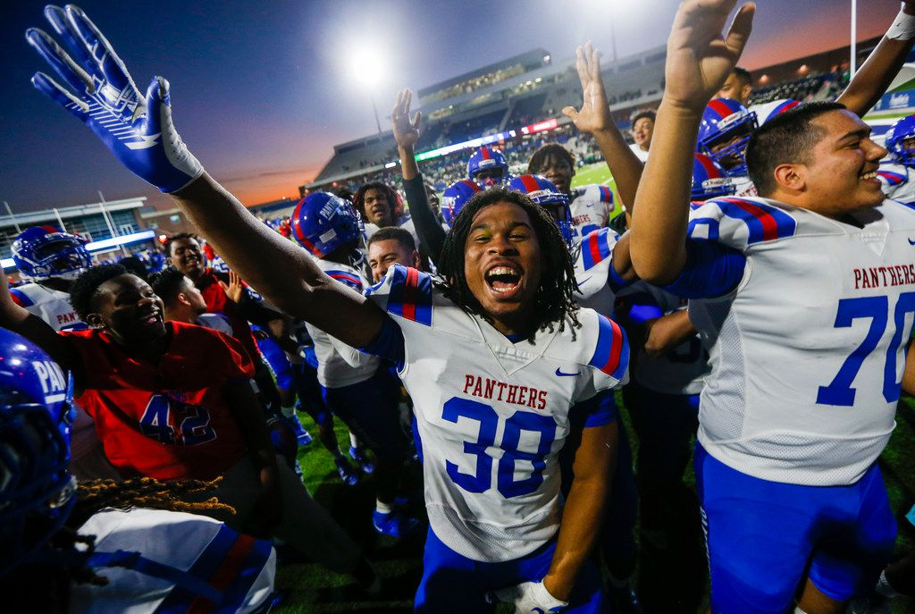 Duncanville linebacker Jordan Chapple (38) celebrates following a win over Southlake Carroll in a Class 6A Division I Region I high school football matchup between Southlake Carroll and Duncanville on Saturday, Dec. 7, 2019 at McKinney ISD Stadium in McKinney, Texas. (Ryan Michalesko/The Dallas Morning News)