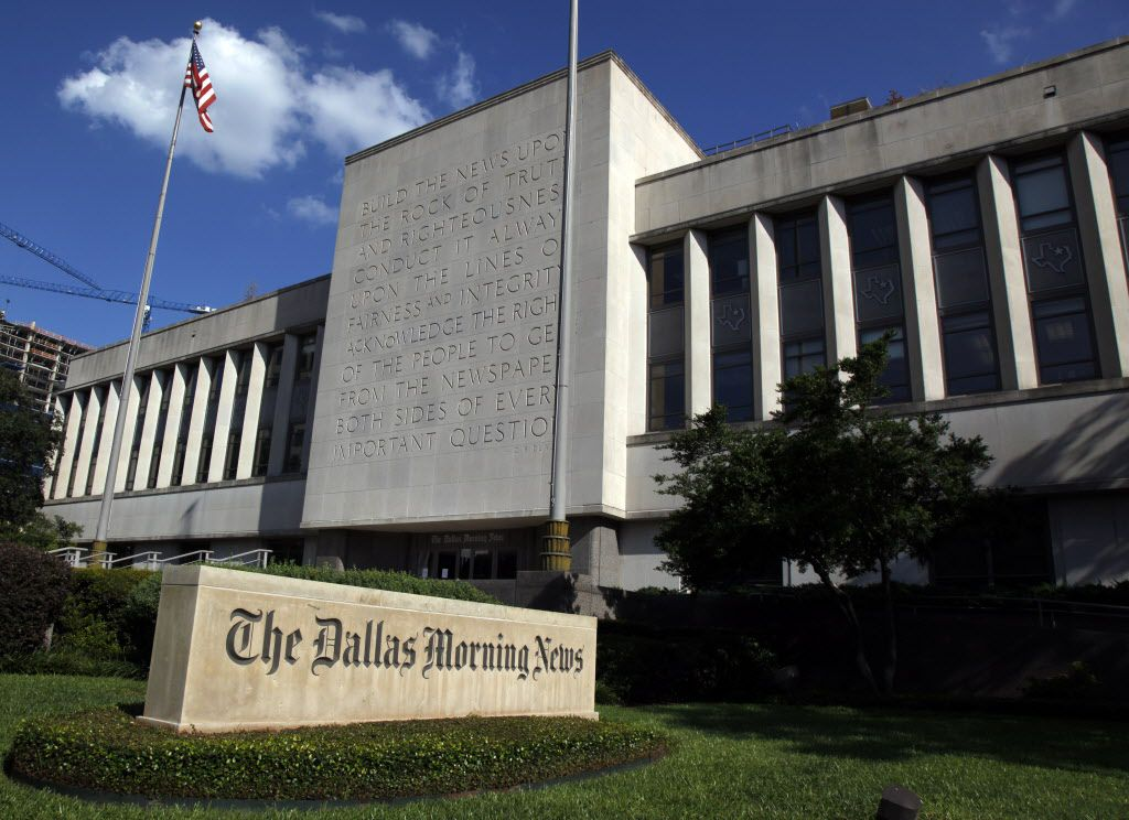 The Dallas Morning News facade. The News won second place in the large-newspaper staff awards category.