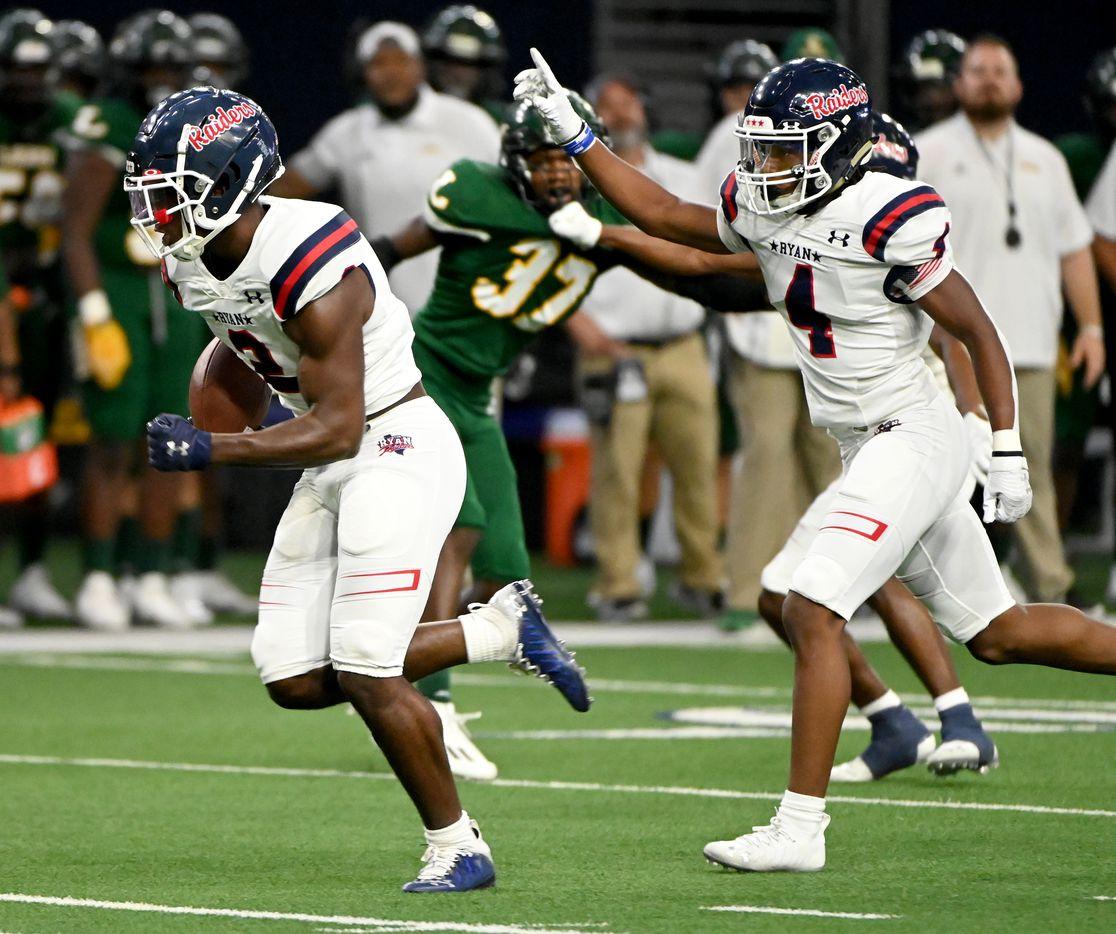 Denton Ryan's Kalib Hicks (2) runs for a touchdown in the first half during a high school football game between Longview and Denton Ryan, Saturday, Aug. 28, 2021, in Frisco, Texas. (Matt Strasen/Special Contributor)