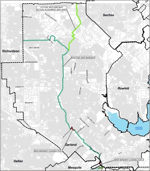 Construction on the Mesquite-Garland-Richardson Bikeway Connectors project  is currently underway in Garland and is slated to begin in Mesquite late summer 2021.