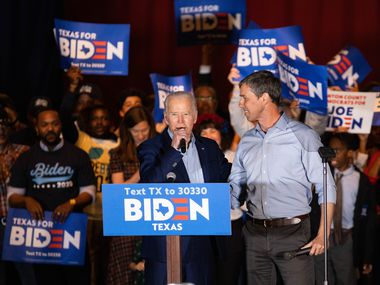 Former Rep. Beto O'Rourke endorses Democratic presidential primary candidate Joe Biden during a rally held at Gilley's in Dallas on March 2, 2020. (Juan Figueroa/ The Dallas Morning News)