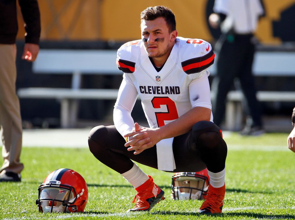 FILE - In this Nov. 15, 2015, file photo, Cleveland Browns quarterback Johnny Manziel looks on  before an NFL football game against the Pittsburgh Steelers in Pittsburgh. Manziel won't be kick-starting his pro football career in the CFL this season. The league announced Wednesday, Sept. 27, 2017, it won't approve a contract for the 2012 Heisman Trophy winner until next season, and only if he meets certain conditions stipulated by Commissioner Randy Ambrosie. (AP Photo/Gene J. Puskar, File)