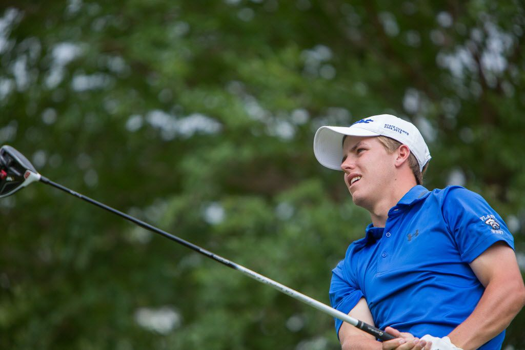 Plano West's Parker Coody tees off on the eighteenth hole during the final round of the UIL Boys 6A golf tournament at the Legacy Hills Golf Club in Georgetown, Texas on May 23, 2017.