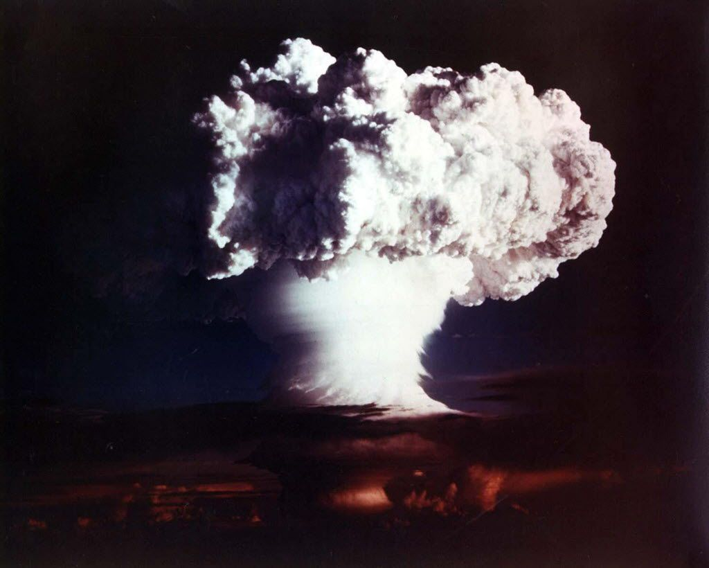 This file picture released by the US Department of Energy on October 28, 2002 shows the cloud from XX-58 IVY MIKE, an experimental thermonuclear device or H-bomb, that was fired on Elugelab Island in the Enewetak atoll  of the Marshall Islands November 1, 1952.