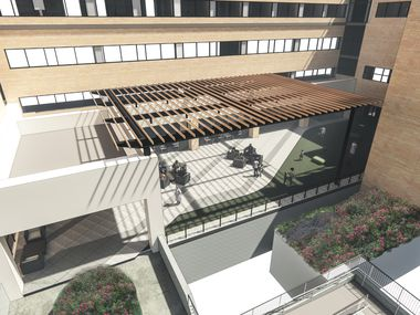 Rendering for a new plaza that's part of the renovation of the Margot Perot Center for Women and Infants on the campus of Texas Health Presbyterian Hospital Dallas.