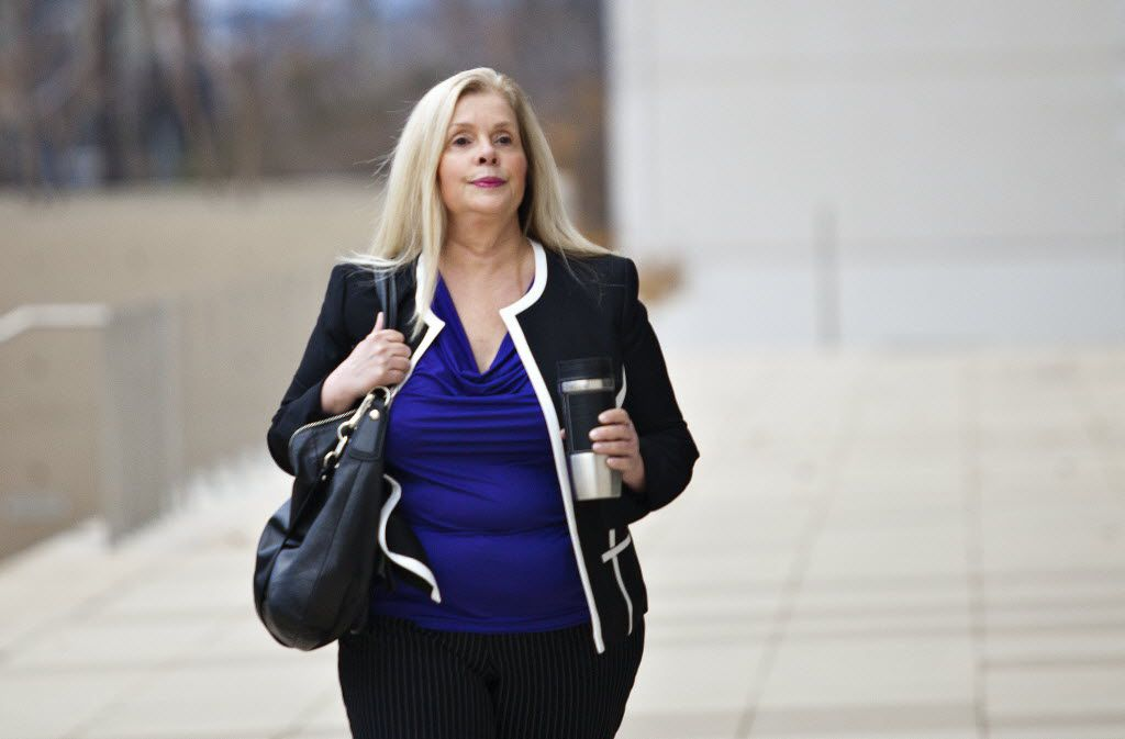 Helena Tantillo walks into the federal courthouse in Austin Wednesday. (Thao Nguyen/Special Contributor)
