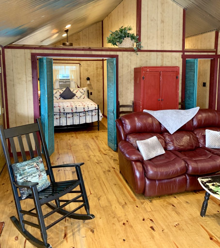 Anderson Creek Cabins feature 15 scenic acres to hike and explore, as well as a natural 25-foot seasonal waterfall
