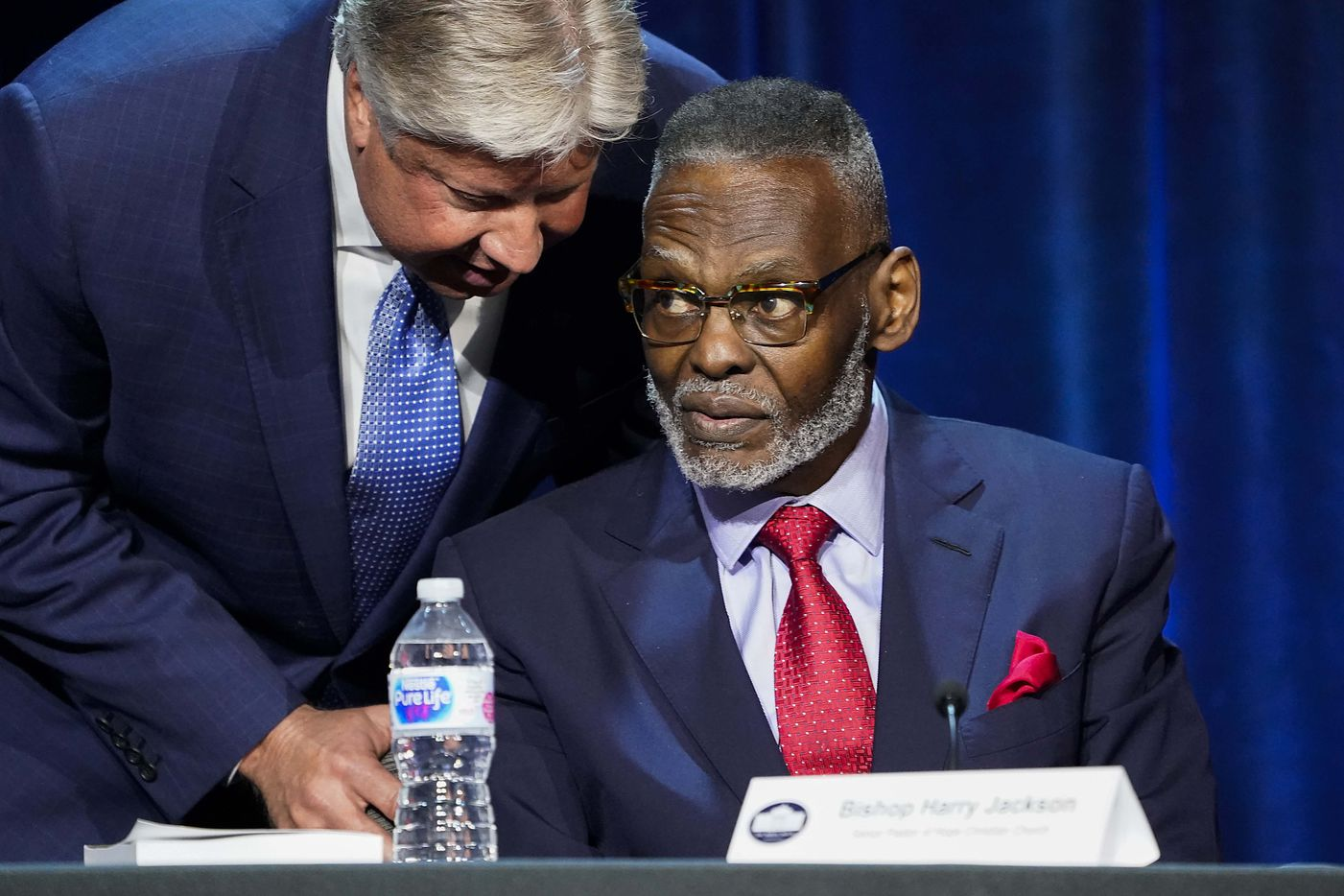 Gateway Church senior pastor Robert Morris (left) talks with Bishop Harry Jackson, senior pastor of Hope Christian Church, during in a roundtable conversation about race relations and policing at Gateway Church Dallas Campus on Thursday, June 11, 2020, in Dallas. (Smiley N. Pool/The Dallas Morning News)
