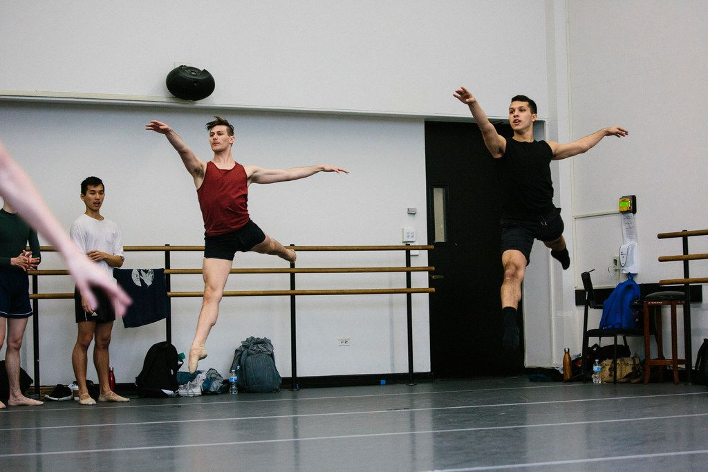 Booker T. Washington alumni Todd Baker, 19, (left) and Michael Garcia, 19, during first-year ballet class at the Julliard School.