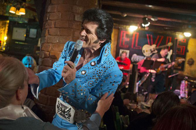Performing as Elvis Presley, tribute artist Johnny Rockit sings at El Ranchito restaurant in Oak Cliff.