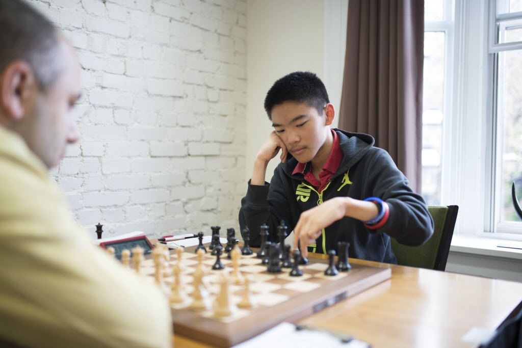 GMs Varuzhan Akobian (Left) and Jeffery Xiong at the U.S. Chess Championship in 2016. Photo by Austin Fuller, Chess Club and Scholastic Center of Saint Louis.
