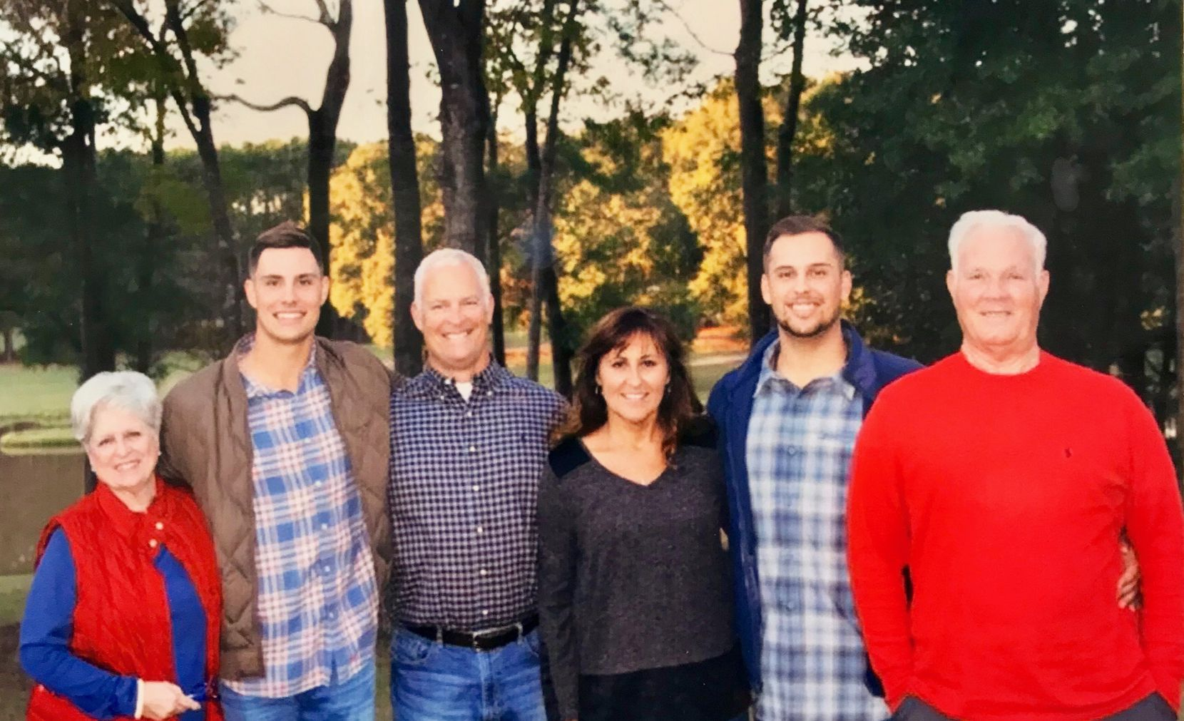"""The family of Texas Rangers first baseman Nate Lowe during Thanksgiving 2018. From left to right: Grandmother Annette Lowe, brother Josh Lowe, father David Lowe, mother Wendy Lowe, Nate Lowe and grandfather Edward """"Pap"""" Lowe. (Courtesy of Lowe family)"""